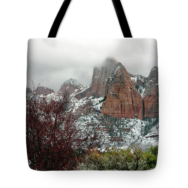 Zion Winter Skyline Tote Bag