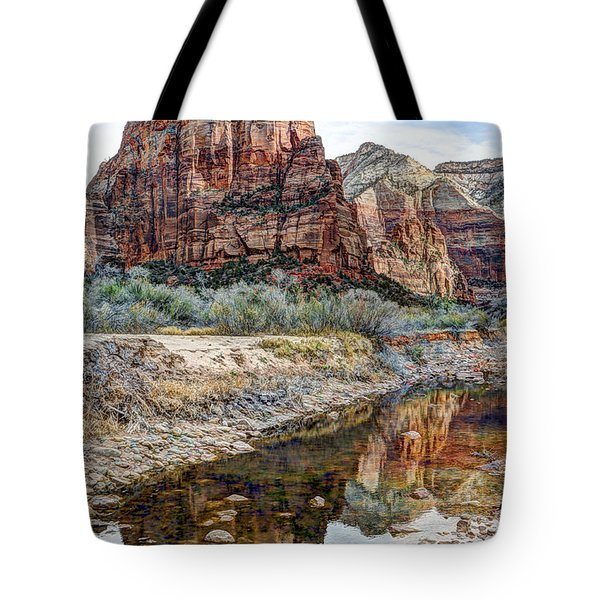 Zions National Park Angels Landing - Digital Painting Tote Bag