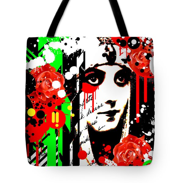Zombie Queen Roses Tote Bag by Chris Andruskiewicz