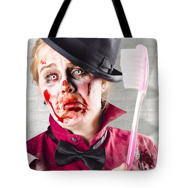 Zombie With Big Toothbrush. Fear Of The Dentist Tote Bag