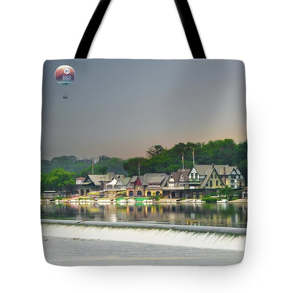 Tote Bag featuring the photograph Zoo Balloon Flying Over Boathouse Row by Bill Cannon