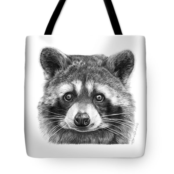 Tote Bag featuring the drawing 046 Zorro The Raccoon by Abbey Noelle