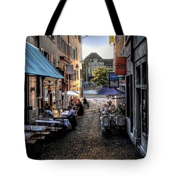 Zurich Old Town Cafe Tote Bag by Jim Hill