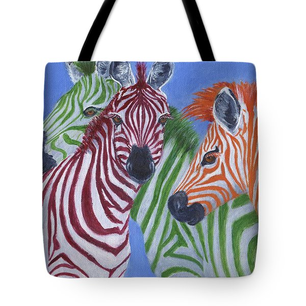 Tote Bag featuring the painting Zzzebras by Jamie Frier