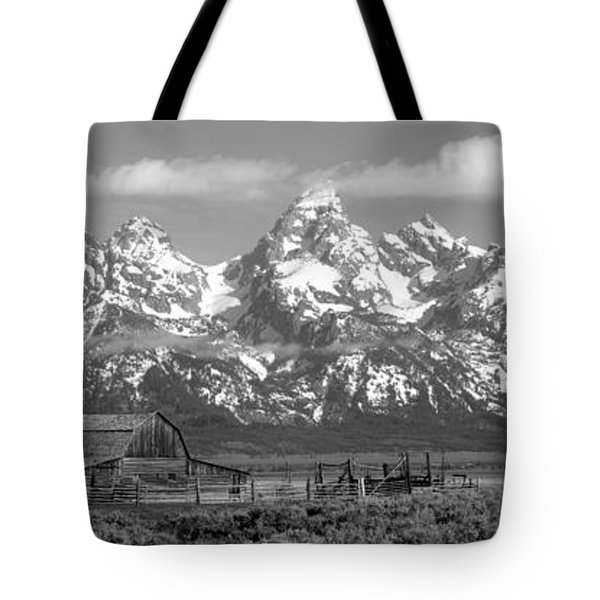 Mormon Row Moulton Barn Black And White Panorama Tote Bag by Adam Jewell