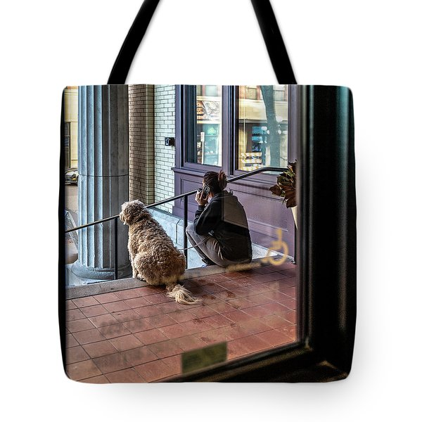 018 - Girl And Dog Tote Bag