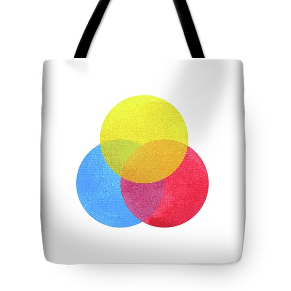 3 Primary Colors, Blue Red Yellow Watercolor Painting Circle Rou Tote Bag