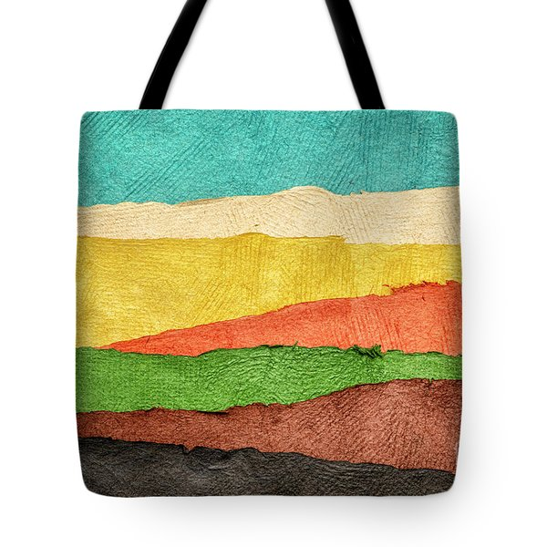 Abstract Landscape Created With Handmade Paper Tote Bag