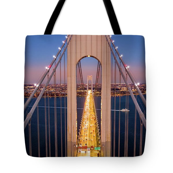 Tote Bag featuring the photograph Aerial View Of Verrazzano Narrows Bridge by Mihai Andritoiu