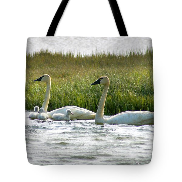Arctic Tundra Swans And Cygnets Tote Bag