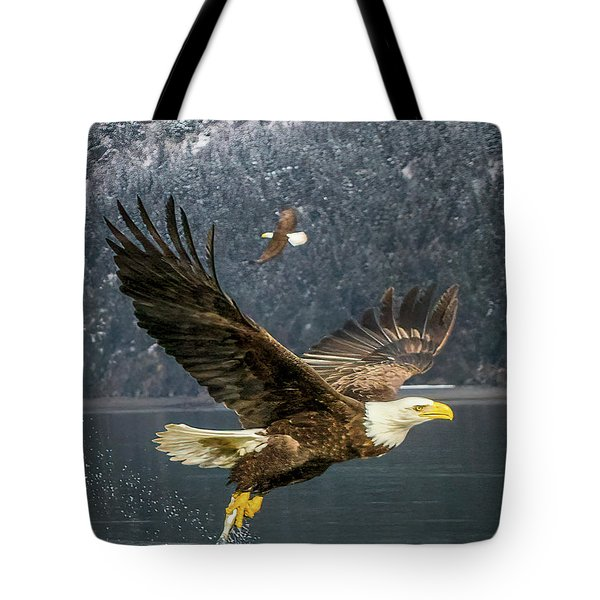 Bald Eagle With Catch Tote Bag