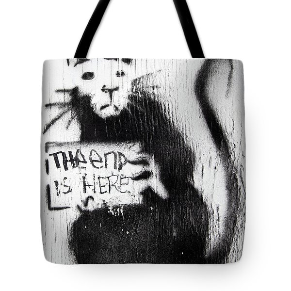 Tote Bag featuring the photograph Banksy Rat The End Is Here by Gigi Ebert