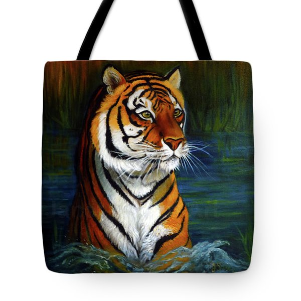 Bathing Tiger. Tote Bag by Janet Silkoff