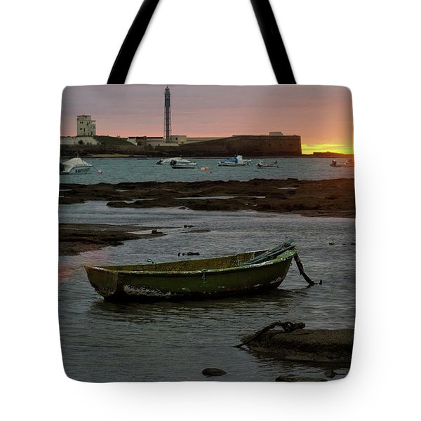 Tote Bag featuring the photograph Beached Boats At Sunset Cadiz Spain by Pablo Avanzini