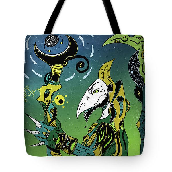 Tote Bag featuring the digital art Birdman by Sotuland Art