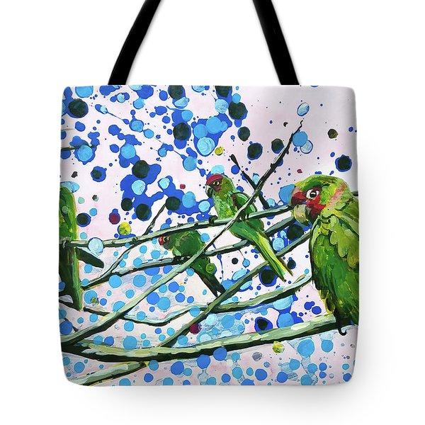 Blue Dot Parakeets Tote Bag