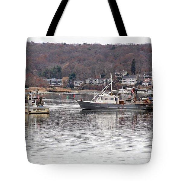 Boats At Northport Harbor Tote Bag