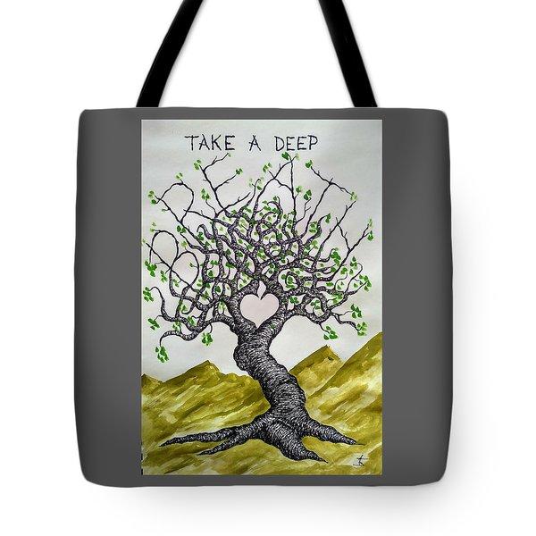 Breathe Love Tree Tote Bag