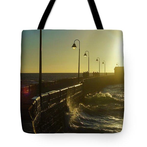 Tote Bag featuring the photograph Caleta Walkway At Sunset Cadiz Spain by Pablo Avanzini