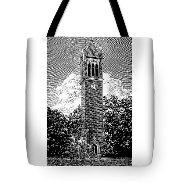 Tote Bag featuring the drawing Campanile 1928 by Clint Hansen