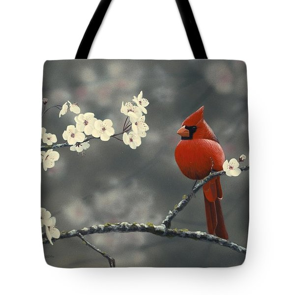 Cardinal And Blossoms Tote Bag