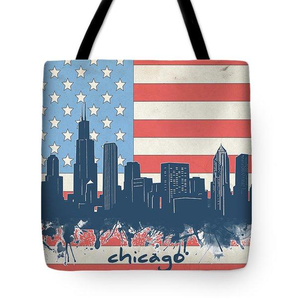 Chicago Skyline Flag Tote Bag