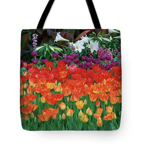 Close-up Of Flowers In A Garden Tote Bag
