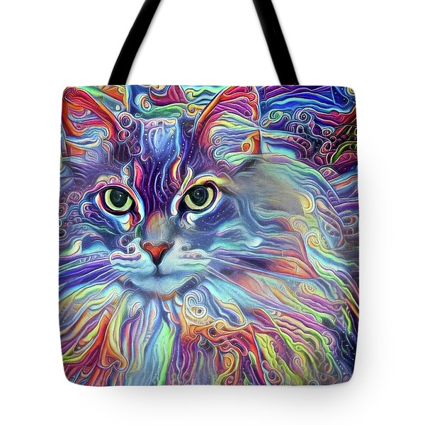 Colorful Long Haired Cat Art Tote Bag