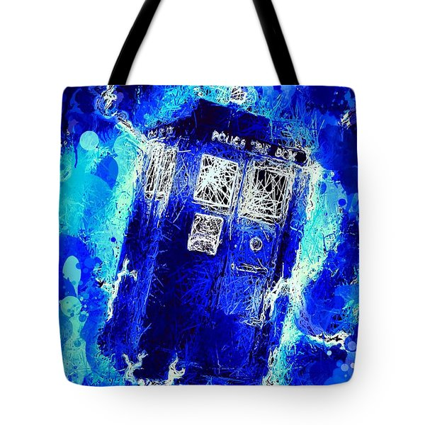 Tote Bag featuring the mixed media Doctor Who Tardis by Al Matra