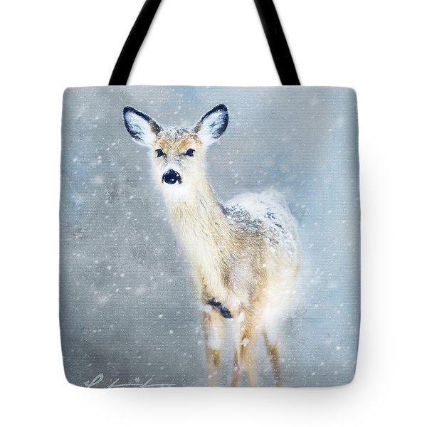 Doe In The Snow Tote Bag
