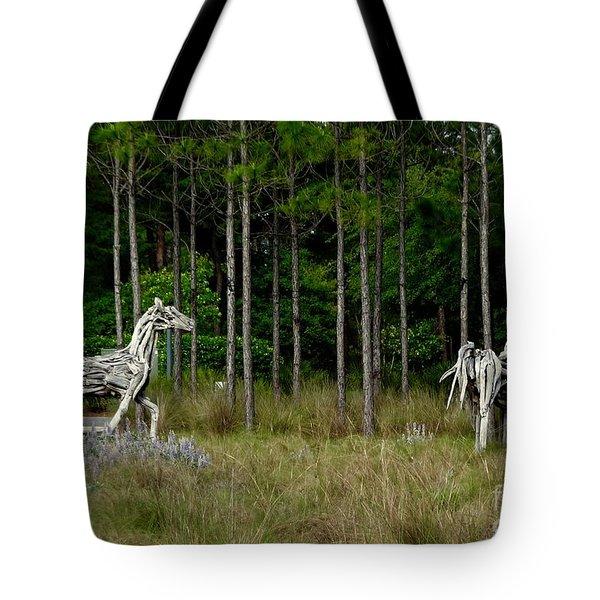 Driftwood Horses Tote Bag