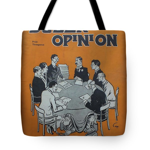 Tote Bag featuring the painting Feb 1938 Dublin Opinion by Val Byrne