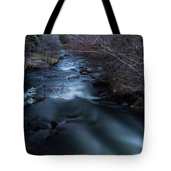 Frozen River And Winter In Forest. Long Exposure With Nd Filter Tote Bag