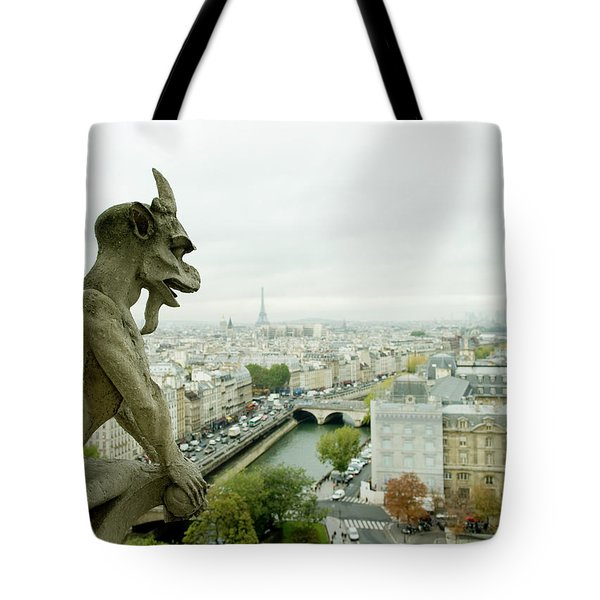 Gargoyle Statue At A Cathedral, Notre Tote Bag