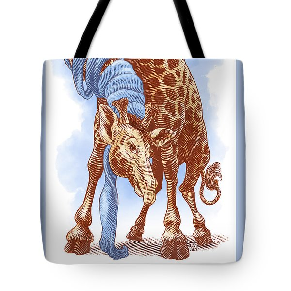 Tote Bag featuring the drawing Giraffe by Clint Hansen