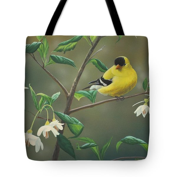 Goldfinch And Snowbells Tote Bag