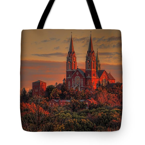 Tote Bag featuring the photograph Holy Hill Sunrise Square by Dale Kauzlaric