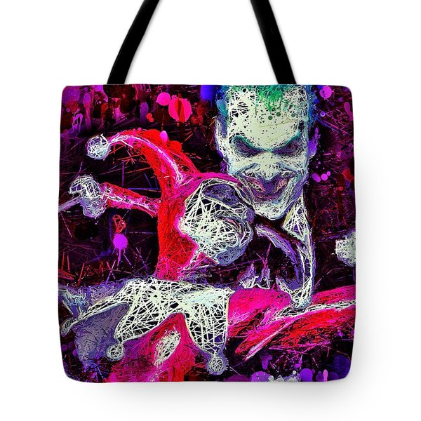 Tote Bag featuring the mixed media Joker And Harley Quinn by Al Matra