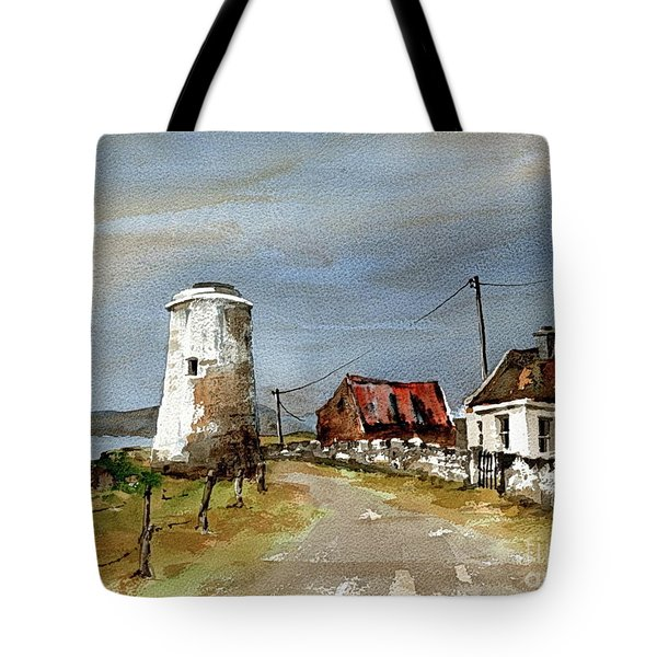 Tote Bag featuring the painting Lighthouse On Inis Boffin, Galway by Val Byrne