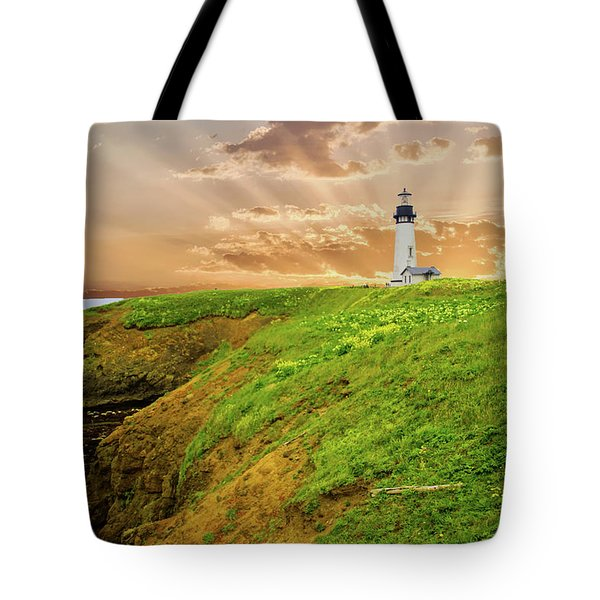 Lighthouse On  Yaquina Head  Tote Bag