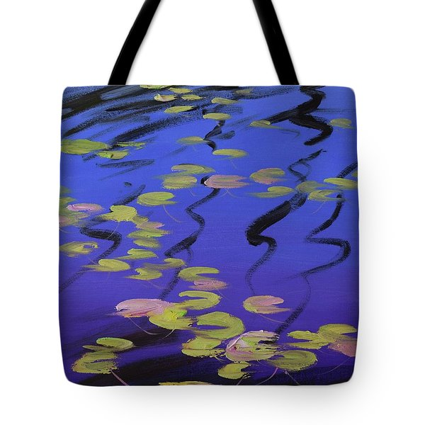 Lilies On Blue Water Tote Bag
