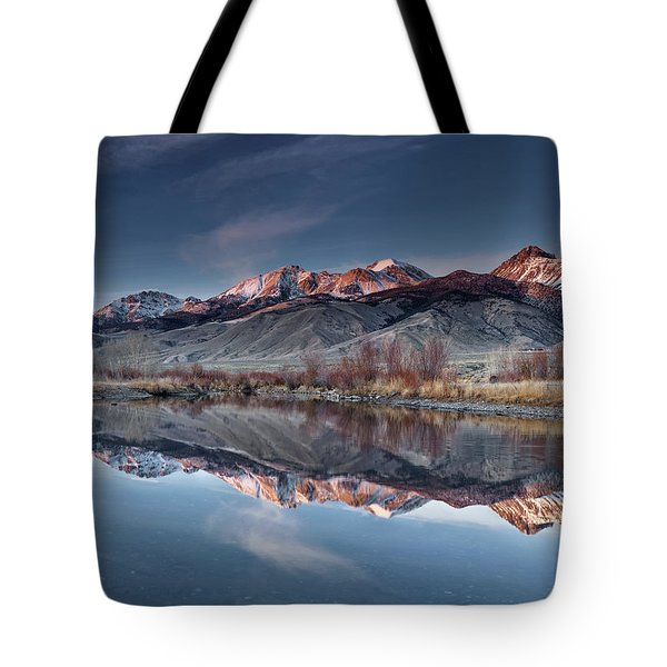 Tote Bag featuring the photograph Lost River Mountains Winter Reflection by Leland D Howard