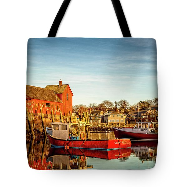Low Tide And Lobster Boats At Motif #1 Tote Bag