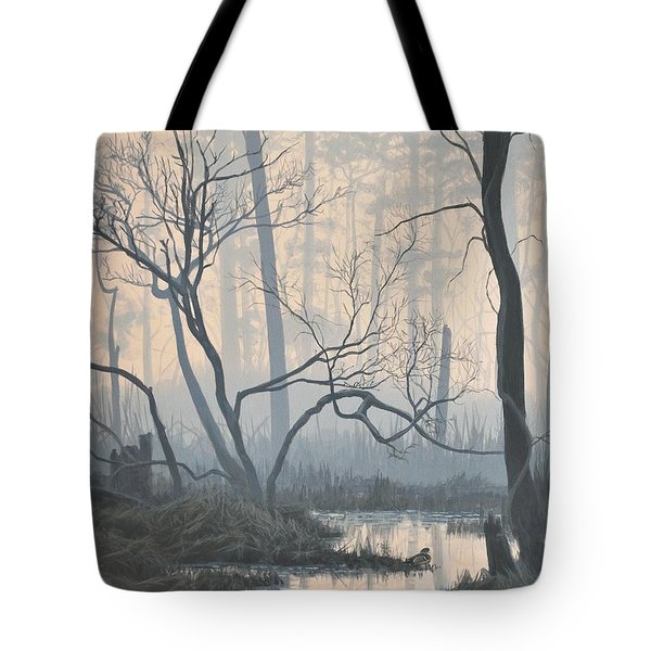 Misty Hideaway - Wood Duck Tote Bag