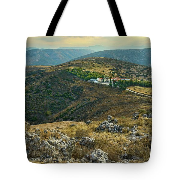 Tote Bag featuring the photograph Monastery Agion Anargiron Above Argos by Milan Ljubisavljevic