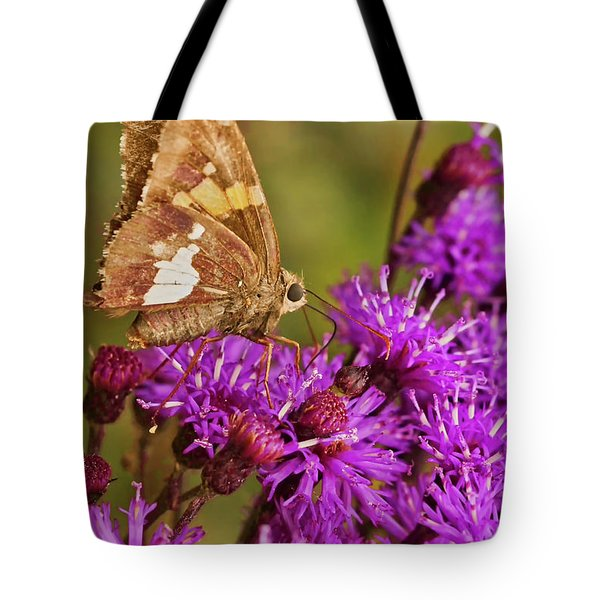 Moth On Purple Flowers Tote Bag