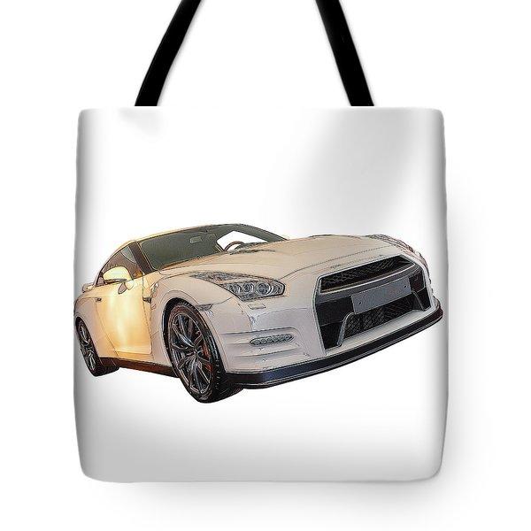 Nissan Gt-r Front Side Profile Digital Sketch Tote Bag