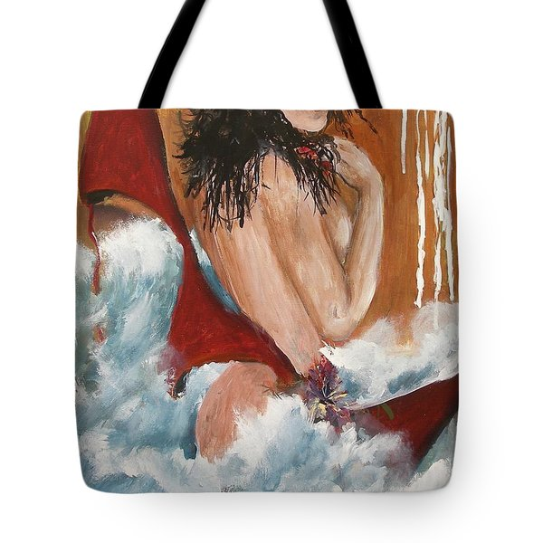 Tote Bag featuring the painting Nude by Miroslaw  Chelchowski