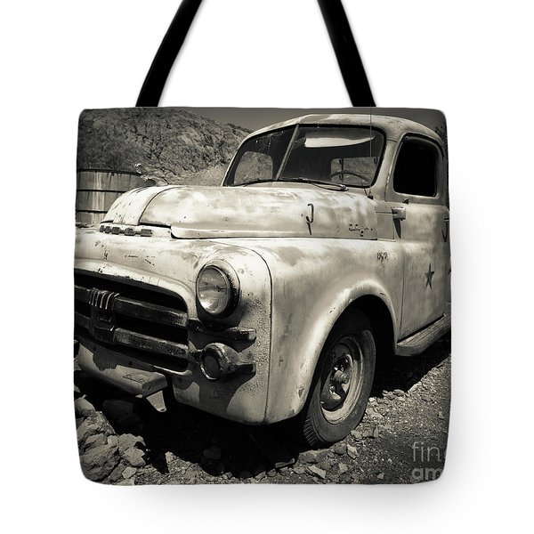 Old Dodge Truck In The Desert Tote Bag