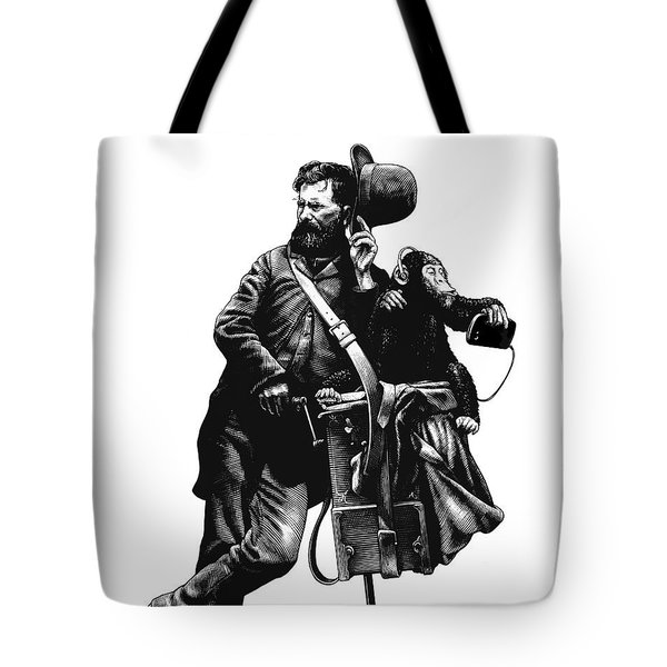 Tote Bag featuring the drawing Organ Grinder by Clint Hansen